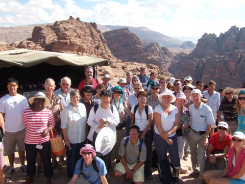 Photo: Pilgrimage party on the mountains above Petra